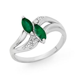 0.45 CTW Emerald & Diamond Ring 18K White Gold - REF-31Y3K - 12780