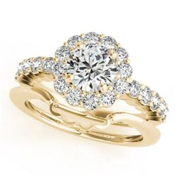 1.75 CTW Certified VS/SI Diamond 2Pc Wedding Set Solitaire Halo 14K Yellow Gold - REF-404W9F - 31195