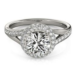 1.6 CTW Certified VS/SI Diamond Solitaire Halo Ring 18K White Gold - REF-390X9T - 26826