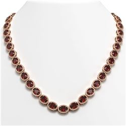 50.08 CTW Garnet & Diamond Halo Necklace 10K Rose Gold - REF-555A6X - 40599