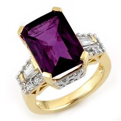 9.55 CTW Amethyst & Diamond Ring 10K Yellow Gold - REF-71A3X - 11752