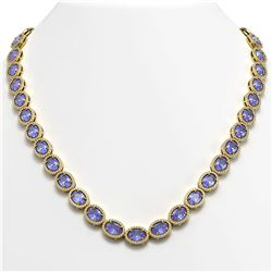 48.65 CTW Tanzanite & Diamond Halo Necklace 10K Yellow Gold - REF-797X3T - 40564
