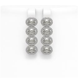 5.92 CTW Oval Diamond Designer Earrings 18K White Gold - REF-1094K9W - 42818