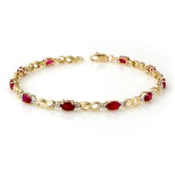 3.76 CTW Ruby & Diamond Bracelet 10K Yellow Gold - REF-43Y6K - 14510