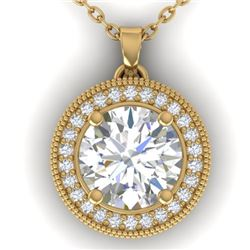 2 CTW I-SI Diamond Solitaire Art Deco Micro Halo Necklace 14K Yellow Gold - REF-559H6A - 30533
