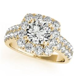 2 CTW Certified VS/SI Diamond Solitaire Halo Ring 18K Yellow Gold - REF-284K2W - 26442