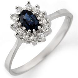 0.60 CTW Blue Sapphire & Diamond Ring 18K White Gold - REF-33A8X - 11134