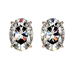 2 CTW Certified VS/SI Quality Oval Diamond Solitaire Stud Earrings 10K Rose Gold - REF-585M2H - 3309
