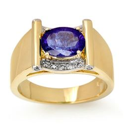 2.18 CTW Tanzanite & Diamond Men's Ring 10K Yellow Gold - REF-64K8W - 13491
