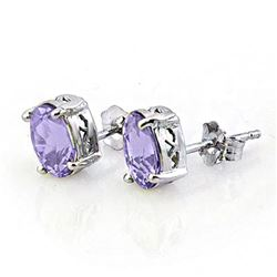 2.0 CTW Tanzanite Earrings 18K White Gold - REF-32Y5K - 11328