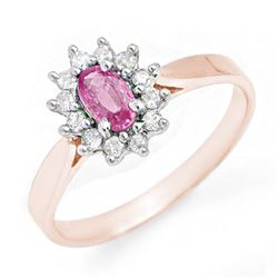 0.83 CTW Pink Sapphire & Diamond Ring 18K Rose Gold - REF-38W9F - 13864