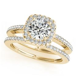 0.92 CTW Certified VS/SI Diamond 2Pc Wedding Set Solitaire Halo 14K Yellow Gold - REF-134N9Y - 30995