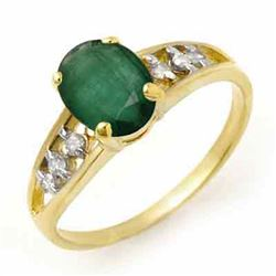1.50 CTW Emerald & Diamond Ring 10K Yellow Gold - REF-17Y8K - 14282