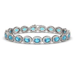 14.82 CTW Swiss Topaz & Diamond Halo Bracelet 10K White Gold - REF-230N4Y - 40484