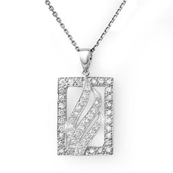 0.45 CTW Certified VS/SI Diamond Necklace 18K White Gold - REF-57K5W - 10862