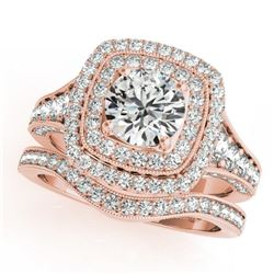 1.93 CTW Certified VS/SI Diamond 2Pc Wedding Set Solitaire Halo 14K Rose Gold - REF-223W6F - 30910