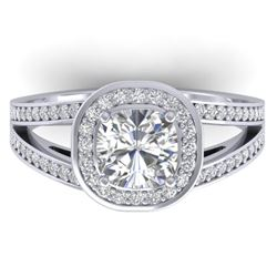 1.5 CTW Cushion Cut Certified VS/SI Diamond Art Deco Ring 14K White Gold - REF-429W8F - 30333