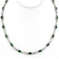 7.02 CTW Emerald & Diamond Necklace 10K White Gold - REF-78M2H - 11324