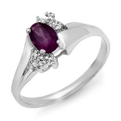 0.55 CTW Amethyst & Diamond Ring 18K White Gold - REF-30X9T - 12534
