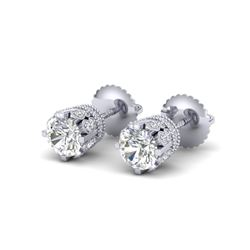 1.75 CTW VS/SI Diamond Solitaire Art Deco Stud Earrings 18K White Gold - REF-249N3Y - 36833