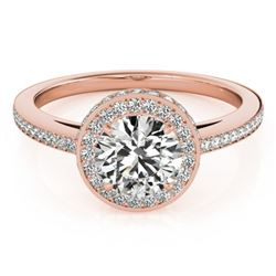 1 CTW Certified VS/SI Diamond Solitaire Halo Ring 18K Rose Gold - REF-143M6H - 26917