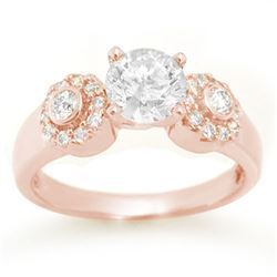 1.38 CTW Certified VS/SI Diamond Ring 14K Rose Gold - REF-351Y3K - 11357