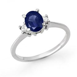 1.04 CTW Blue Sapphire & Diamond Ring 18K White Gold - REF-41W8F - 12360