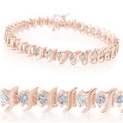 1.0 CTW Certified VS/SI Diamond Bracelet 10K Rose Gold - REF-82K5W - 14038