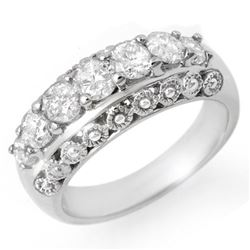 1.25 CTW Certified VS/SI Diamond Ring 14K White Gold - REF-144A5X - 14434