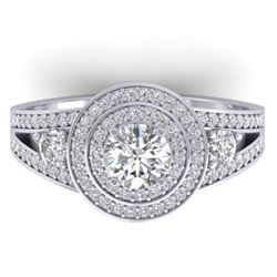 1.50 CTW Certified VS/SI Diamond Art Deco 3 Stone Halo Ring 14K White Gold - REF-170W8F - 30372