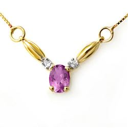 1.30 CTW Amethyst & Diamond Necklace 10K Yellow Gold - REF-18H8A - 12614