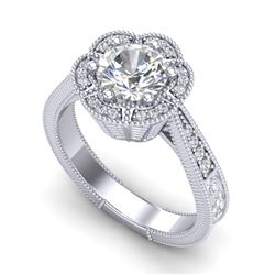 1.33 CTW VS/SI Diamond Solitaire Art Deco Ring 18K White Gold - REF-418A2X - 37103