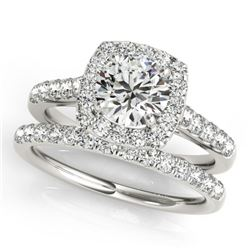 1.45 CTW Certified VS/SI Diamond 2Pc Wedding Set Solitaire Halo 14K White Gold - REF-160F2N - 30714