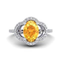 1.75 CTW Citrine & Micro Pave VS/SI Diamond Ring 10K White Gold - REF-32X9T - 20979
