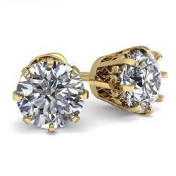 2.0 CTW VS/SI Diamond Stud Solitaire Earrings 18K Yellow Gold - REF-518N2Y - 35686