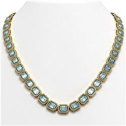 54.79 CTW Aquamarine & Diamond Halo Necklace 10K Yellow Gold - REF-896H9A - 41356