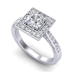 1.1 CTW VS/SI Diamond Art Deco Ring 18K White Gold - REF-180H2A - 37265
