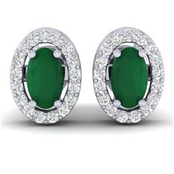 1.02 CTW Emerald & Micro Pave VS/SI Diamond Earrings Halo 18K White Gold - REF-34M5H - 21185