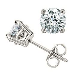 1.0 CTW Certified VS/SI Diamond Solitaire Stud Earrings 18K White Gold - REF-141K8W - 13532