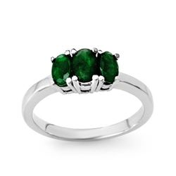 1.0 CTW Emerald Ring 18K White Gold - REF-38A4X - 13828