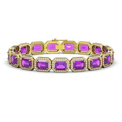 22.81 CTW Amethyst & Diamond Halo Bracelet 10K Yellow Gold - REF-302X9T - 41419
