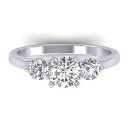 1.37 CTW Certified VS/SI Diamond Art Deco 3 Stone Ring 14K White Gold - REF-212X9T - 30483