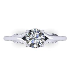 1 CTW Solitaire Certified VS/SI Diamond Ring 14K White Gold - REF-278M4H - 38541