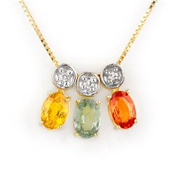 2.03 CTW Multi-Sapphire & Diamond Necklace 10K Yellow Gold - REF-21W5F - 11298