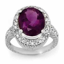5.50 CTW Amethyst & Diamond Ring 14K White Gold - REF-76H2A - 13980