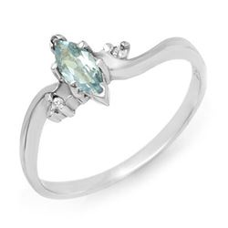 0.29 CTW Blue Topaz & Diamond Ring 14K White Gold - REF-16T4M - 12560