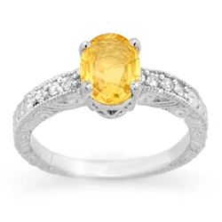 2.28 CTW Yellow Sapphire & Diamond Ring 14K White Gold - REF-61Y8K - 13821