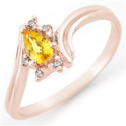 0.35 CTW Yellow Sapphire & Diamond Ring 18K Rose Gold - REF-25A6X - 10894