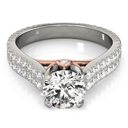 2.11 CTW Certified VS/SI Diamond Pave Ring 18K White & Rose Gold - REF-606W5F - 28105