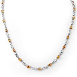 9.02 CTW Orange Sapphire & Diamond Necklace 18K White Gold - REF-163W6F - 11646
